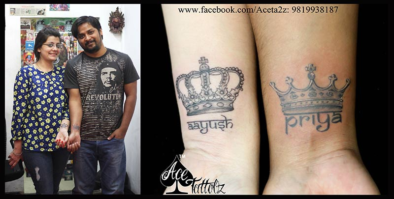 Crown couple tattoos with their names ace tattooz for Crown couple tattoos