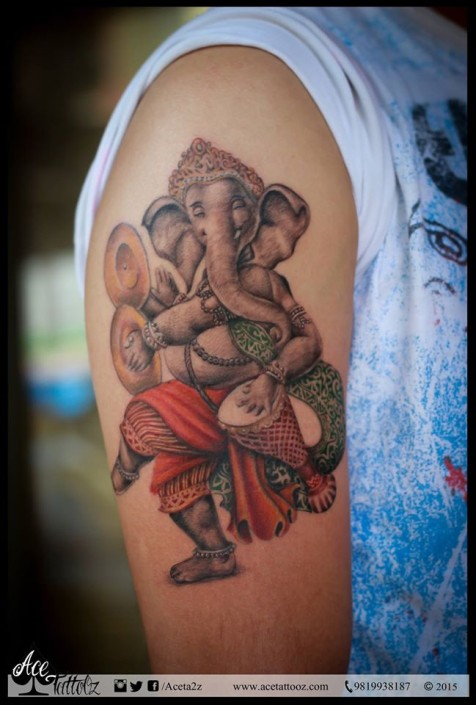 colourful lord ganesha with dholki and hand cymbal tattoo design. Black Bedroom Furniture Sets. Home Design Ideas