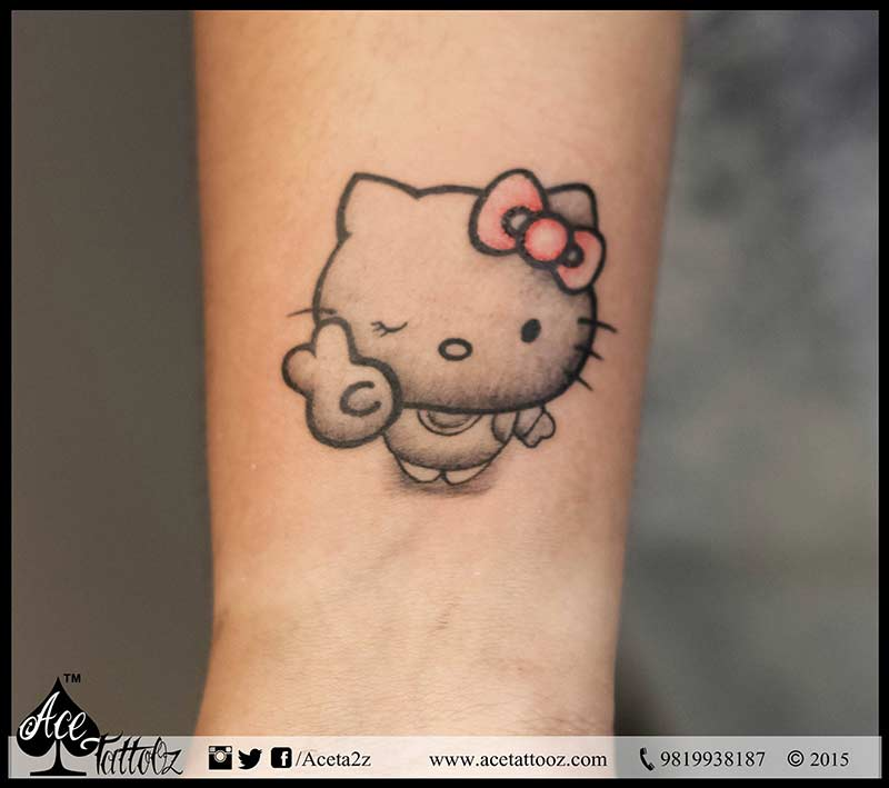 Hello Kitty With Pink Bow Tattoo