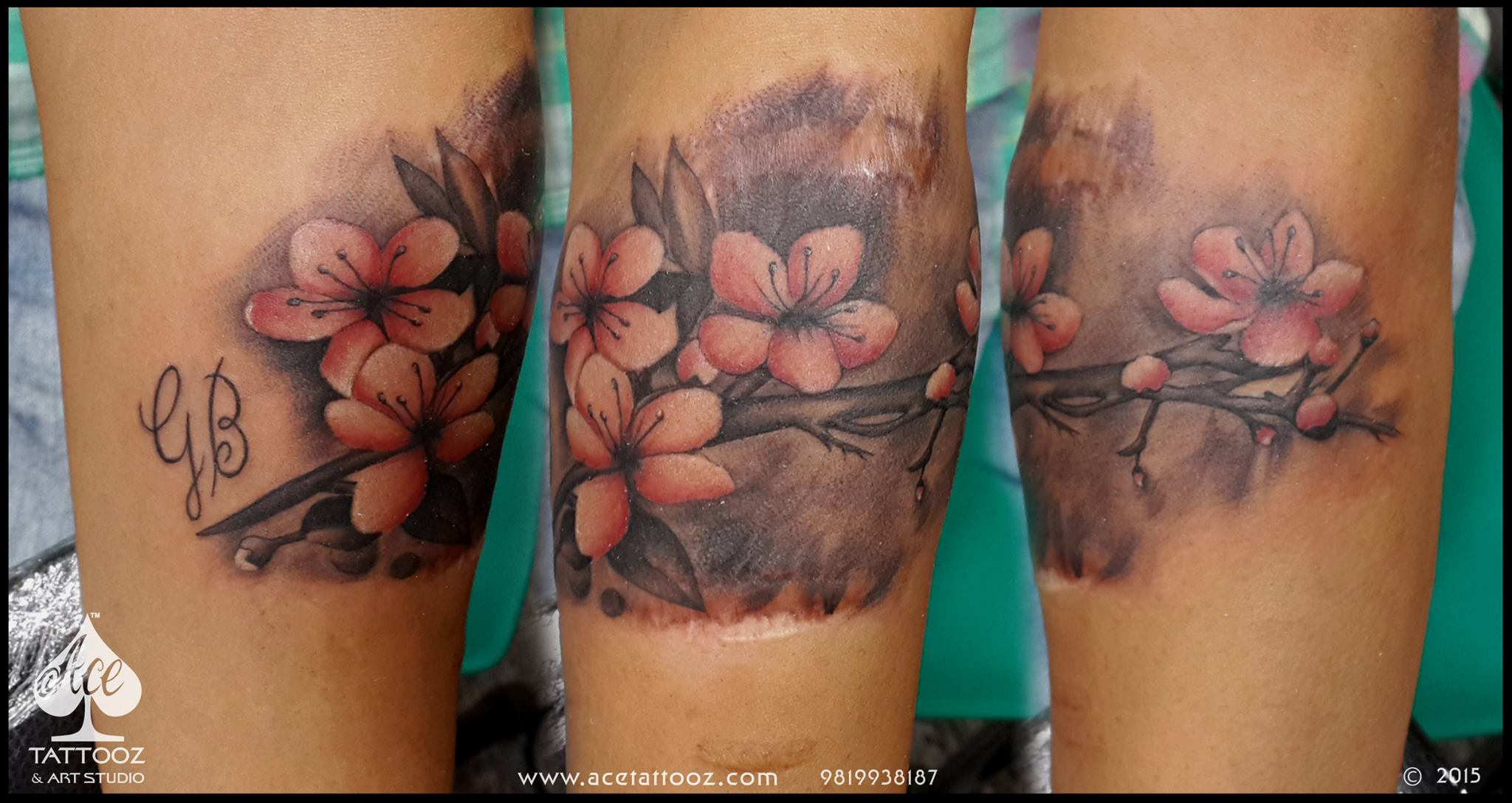 Scar cover up tattoo with flowers ace tattooz for Scar tattoo cover up