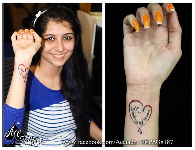 Heart with Name Tattoo Ideas for Womens Wrist