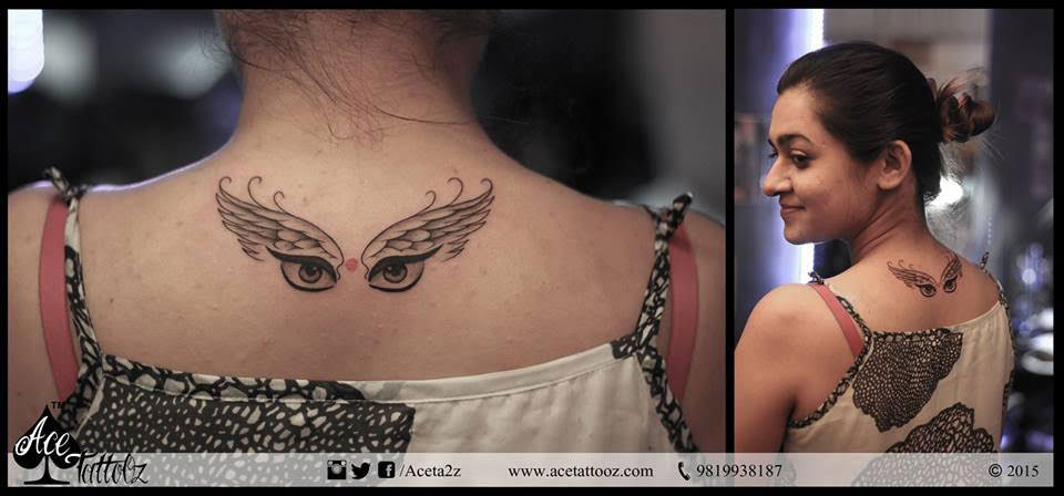 Religious Goddess Durga in Wings Tattoo Designs