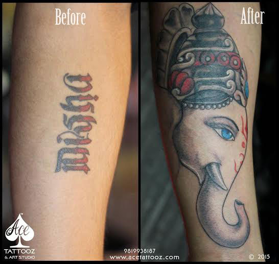Ex girl friend name tattoo covered up with Lord Ganesha tattoo
