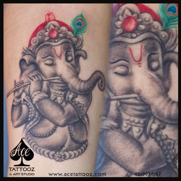 Krishna and Ganesh Black and Grey Tattoo Designs