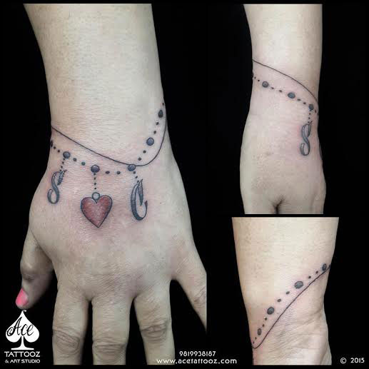 Bracelet with Heart Tattoo Ideas for Womens Wrist