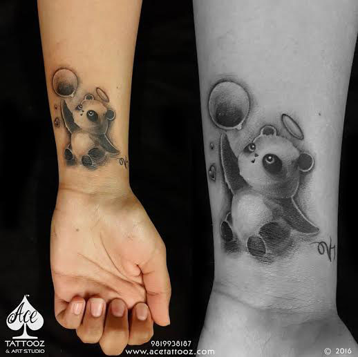 Bear and Ball Tattoo Ideas for Womens Wrist