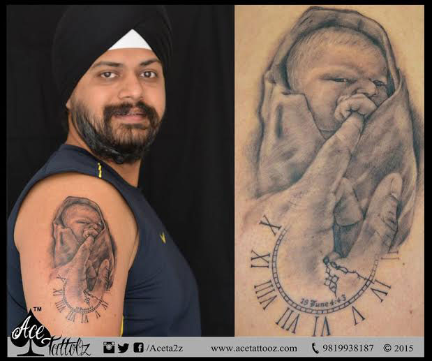 Best Baby portrait tattoo and Arm tattoo