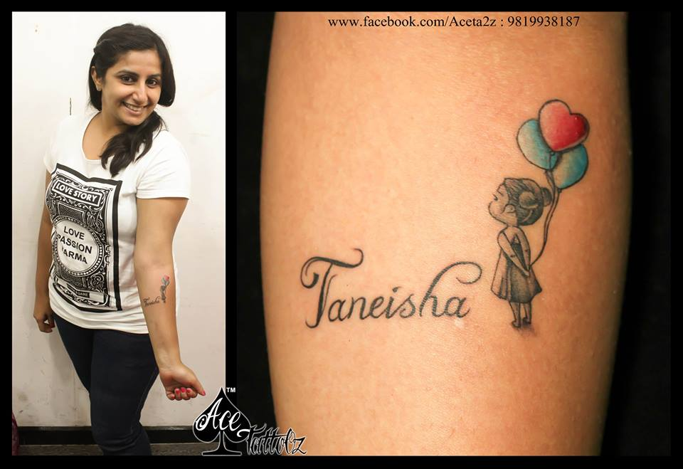 NAME TATTOO WITH PRETTY GIRL