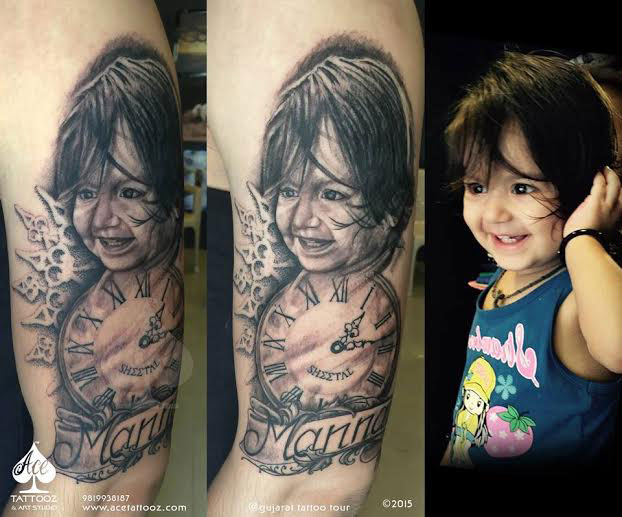 Baby Portrait Tattoos on Arm