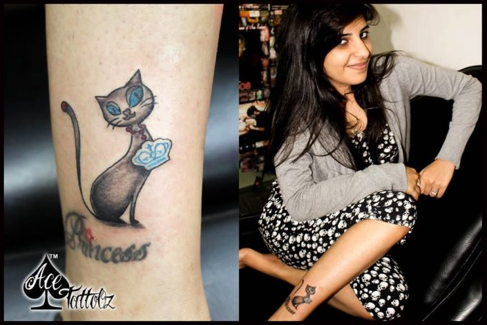 Unique Ankle Tattoo Designs for Women with Cat on Leg