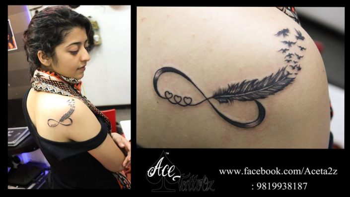 Infinity with unique feather tattoos