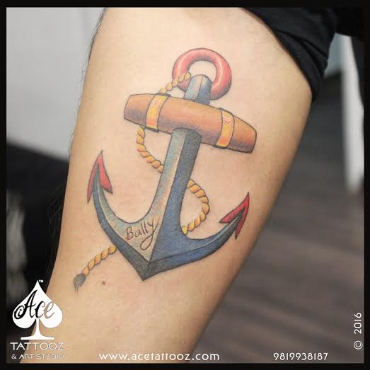 3D ANCHOR COLOR TATTOO