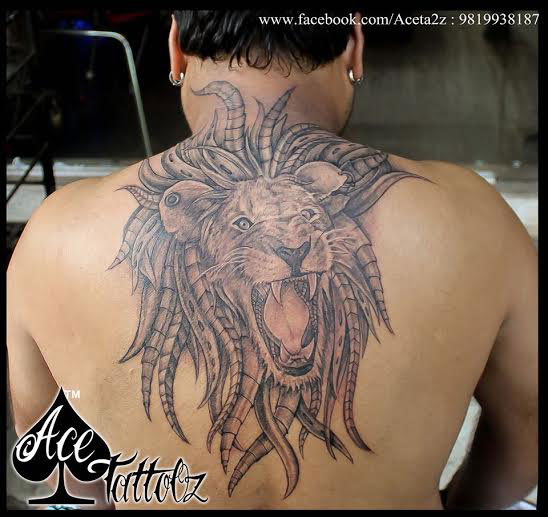 Back Tattoo Designs for Men with Lion
