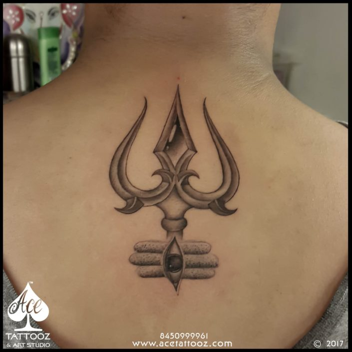 Trishul with Bhasma and Third Eye Tattoo
