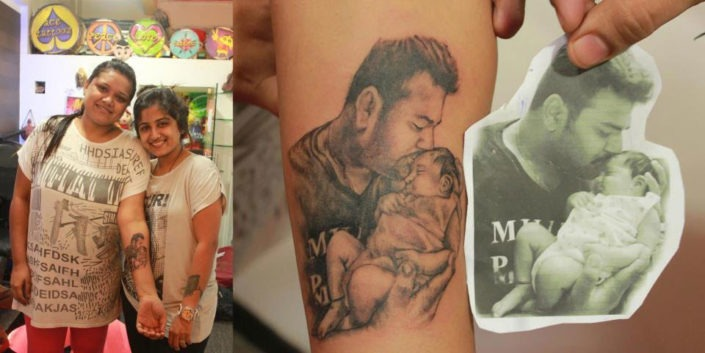 BABY DESIGN WITH FATHER TATTOOS