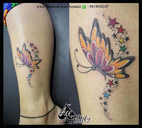 Colourful Butterfly Tattoo Designs for Women