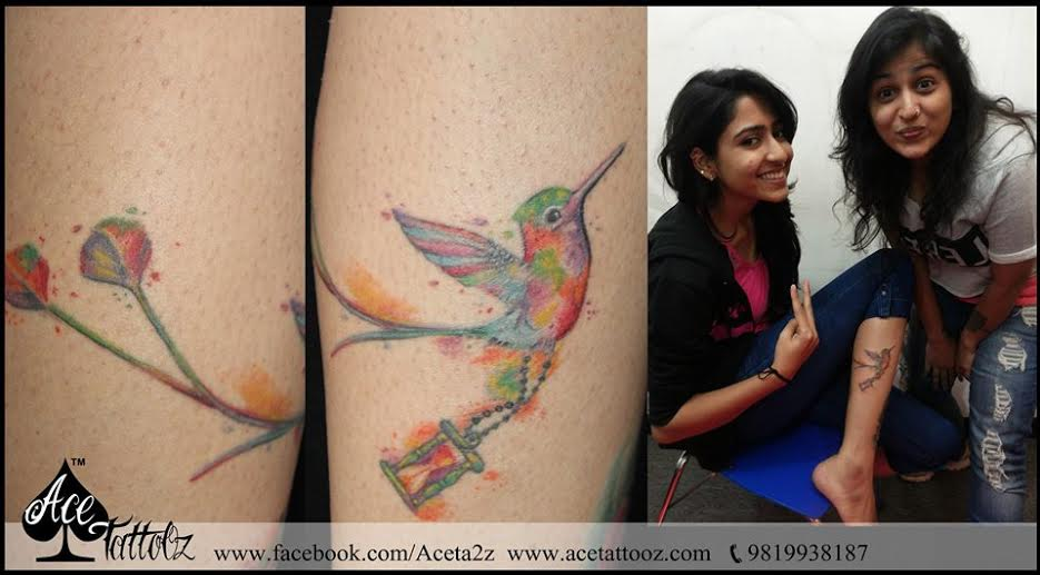 Colourful Bird with Hour Glass Tattoo