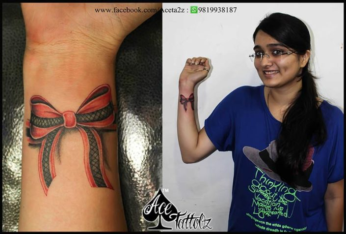 3D Bow Tattoo Ideas for Womens Wrist