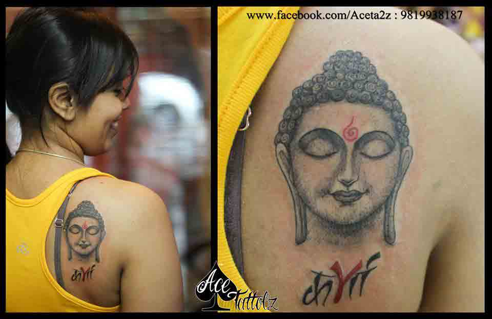 Best Lord Buddha Potrait Tattoo with karma written