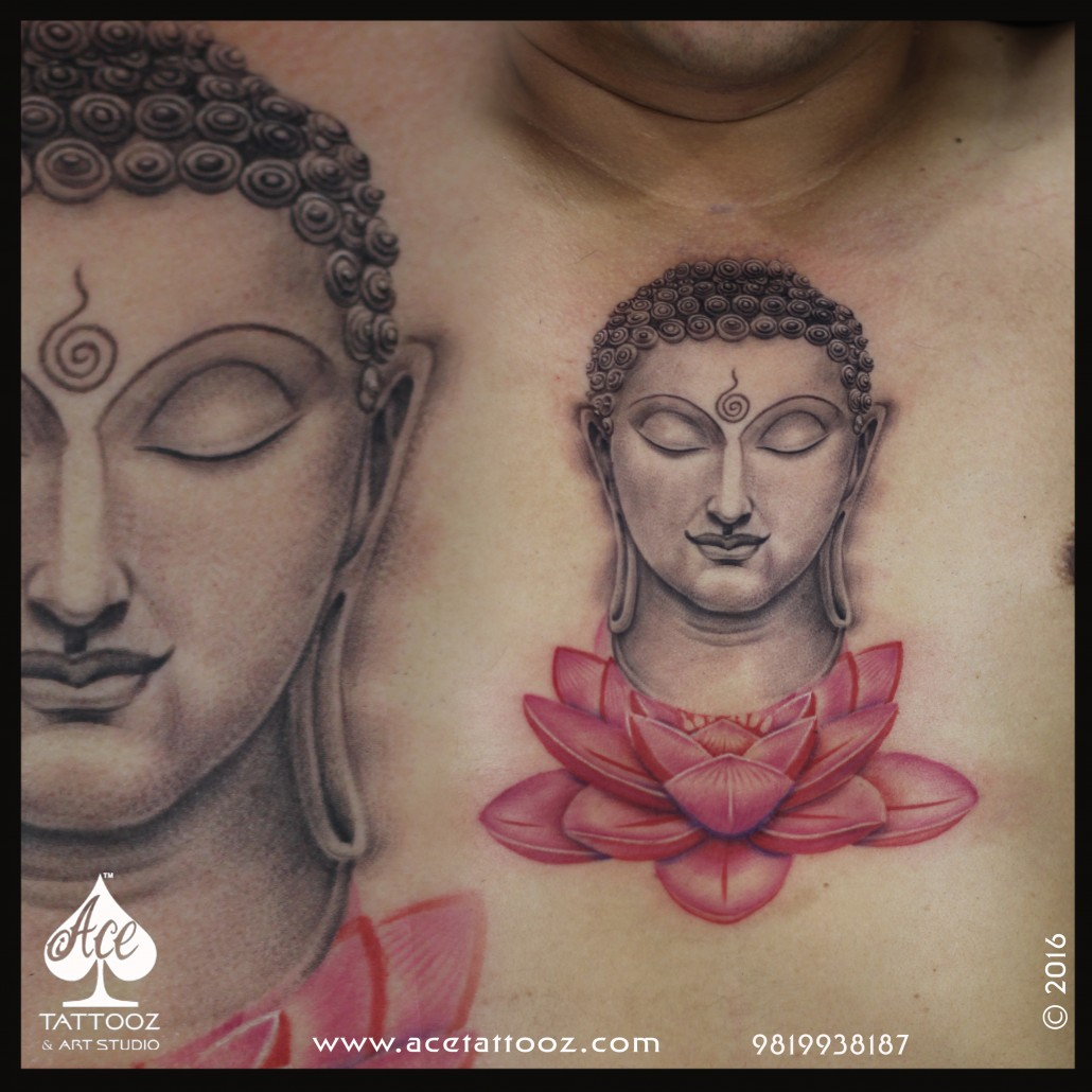 Buddha tattoo on lotus flower ace tattooz art studio mumbai india buddha tattoo on lotus flower izmirmasajfo