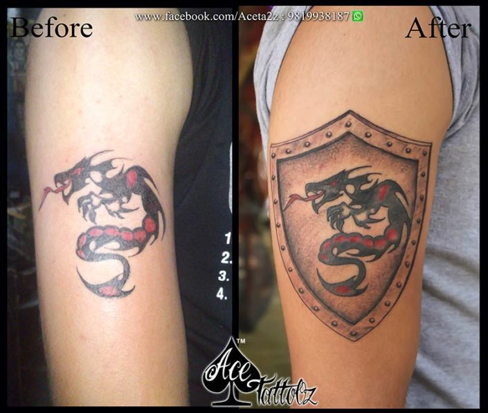 Best Chinese dragon tattoo with a shield