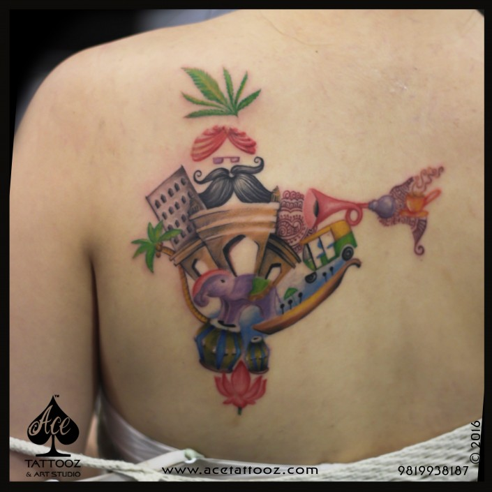 Colorfull India Map Tattoo by Ace Tattooz