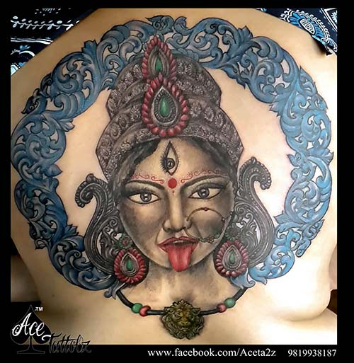 FULLY CUSTOMISED GODDESS MAA KALI TATTOO ON FULL BACK