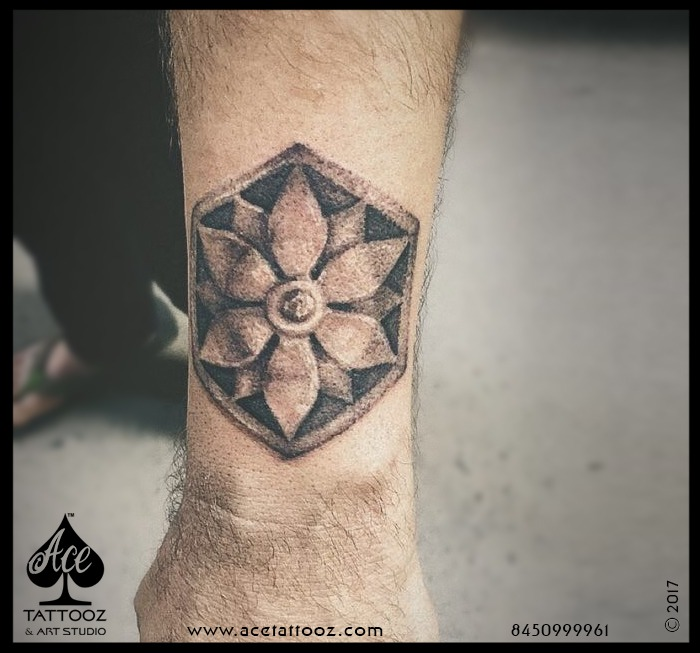 Flower with Shield Best Small Tattoo Designs