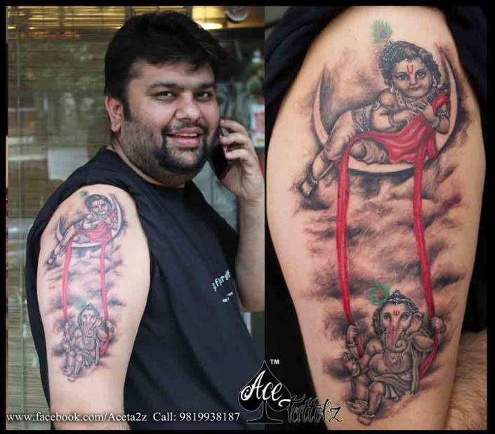 Ganesh Tattoo on Hand with Lord Krishna Tattoo Designs