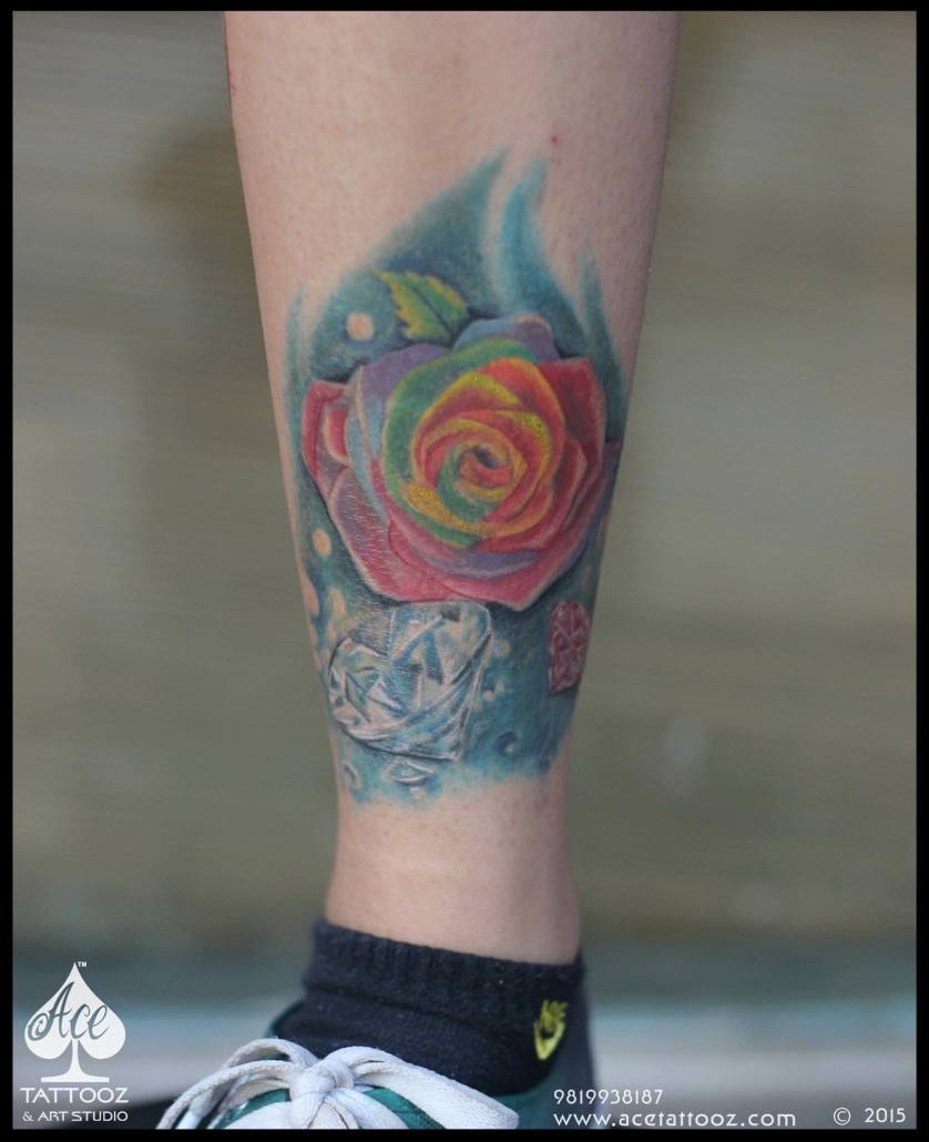 Healed Rose Unique Flower Tattoo Designs for Women