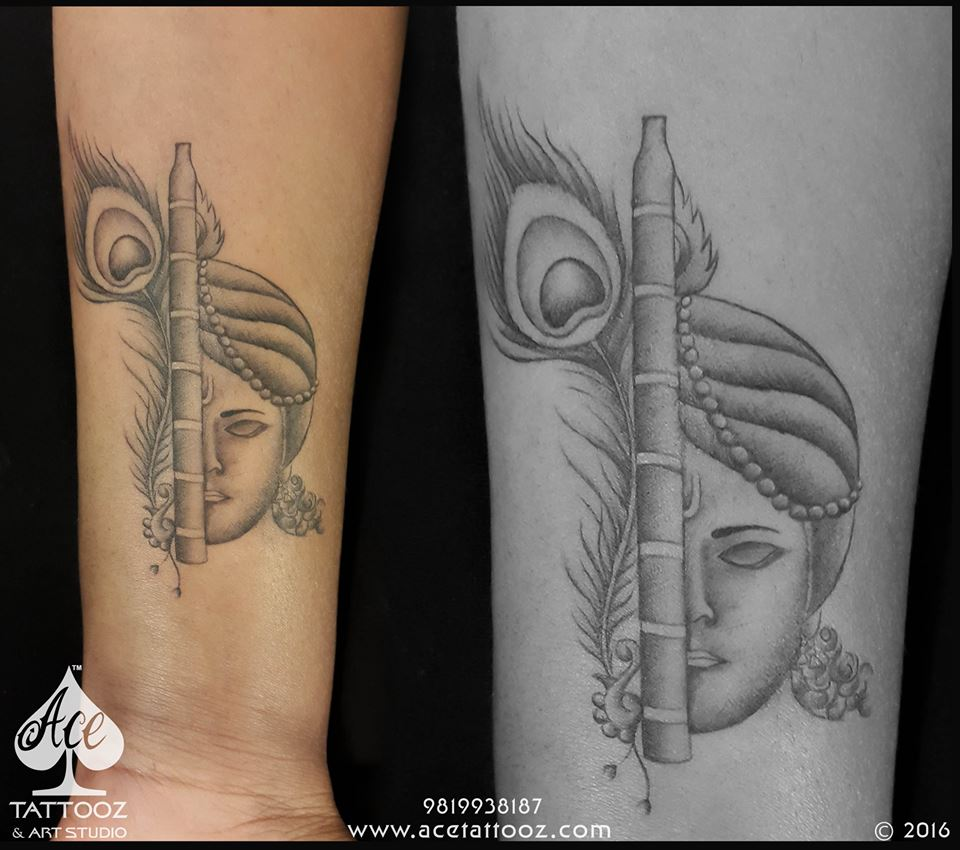 Krishna Black and Grey Tattoo Designs