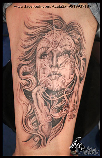 LADY FACE TATTOO