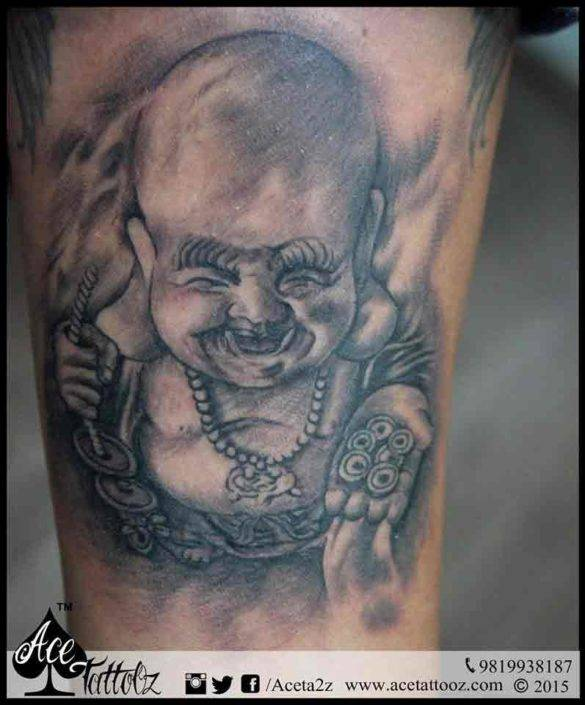 Laughing Buddha with Money Bag God Tattoo Designs