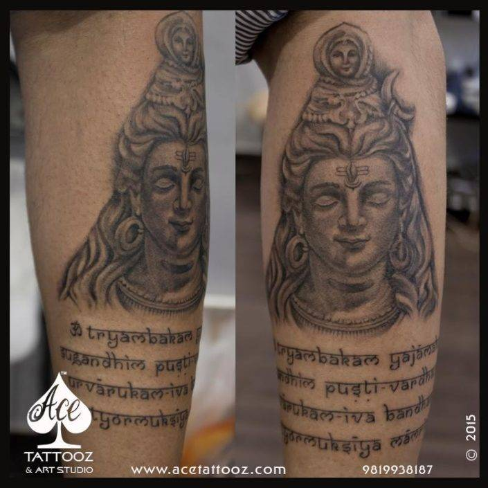 Mantra with Lord Shiva Tattoos