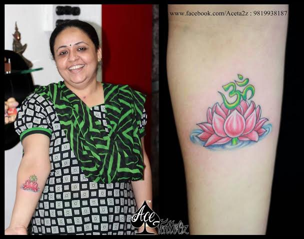 Om with Lotus Unique Flower Tattoo Designs for Women