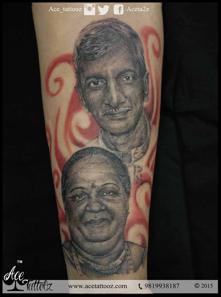 Portrait Tattoos on Arm of Mother and Father