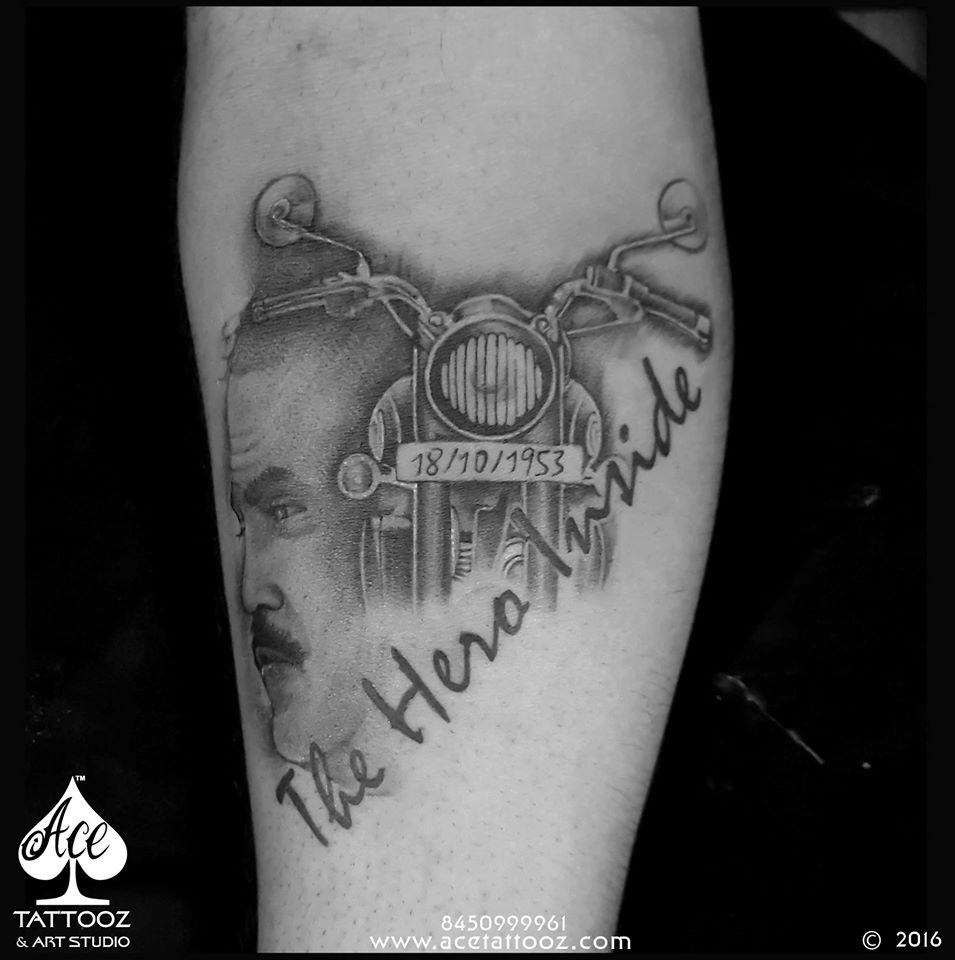 Royal Enfield Bullet Black and Grey Tattoo Designs