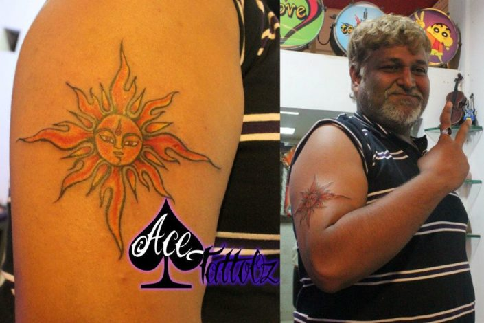 Sun Tattoo Design On Arm
