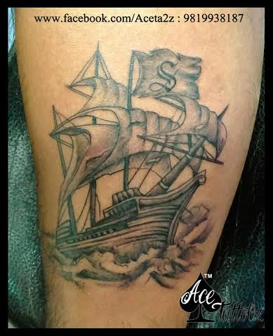 Sailing Ship Unique Tattoo Designs for Men on Arm