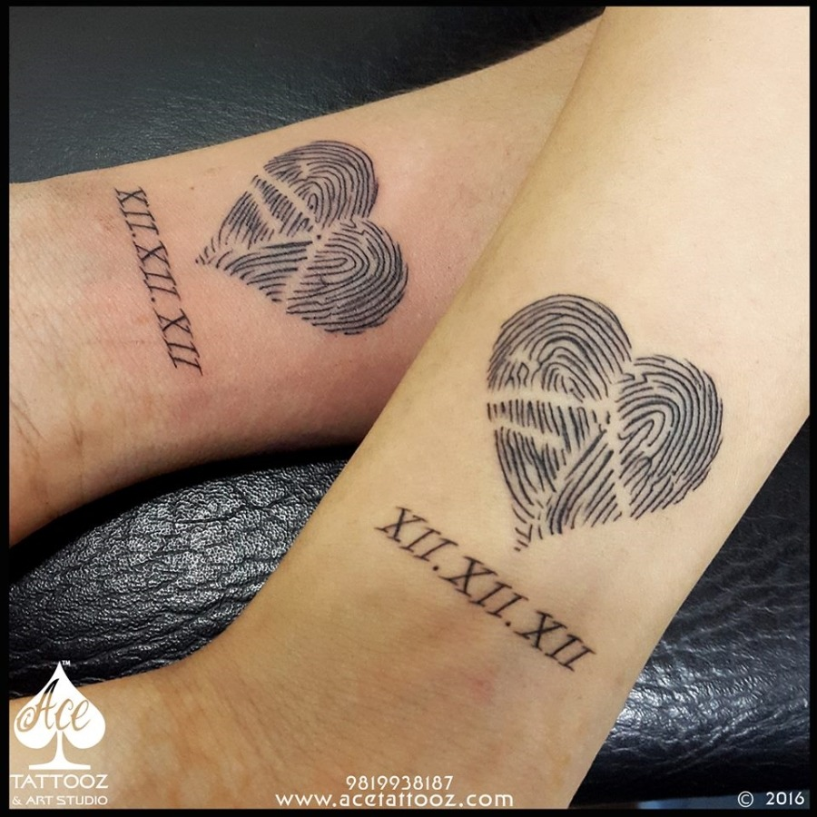 Thumbprint couple tattoo ace tattooz for Best couples tattoos