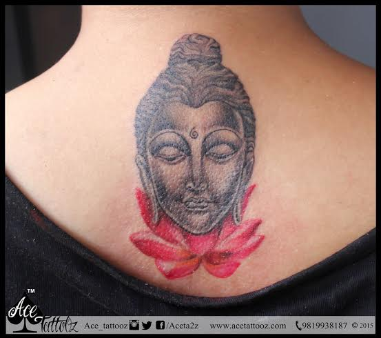 Lord Buddha with Lotus Unique Flower Tattoo Designs for Women