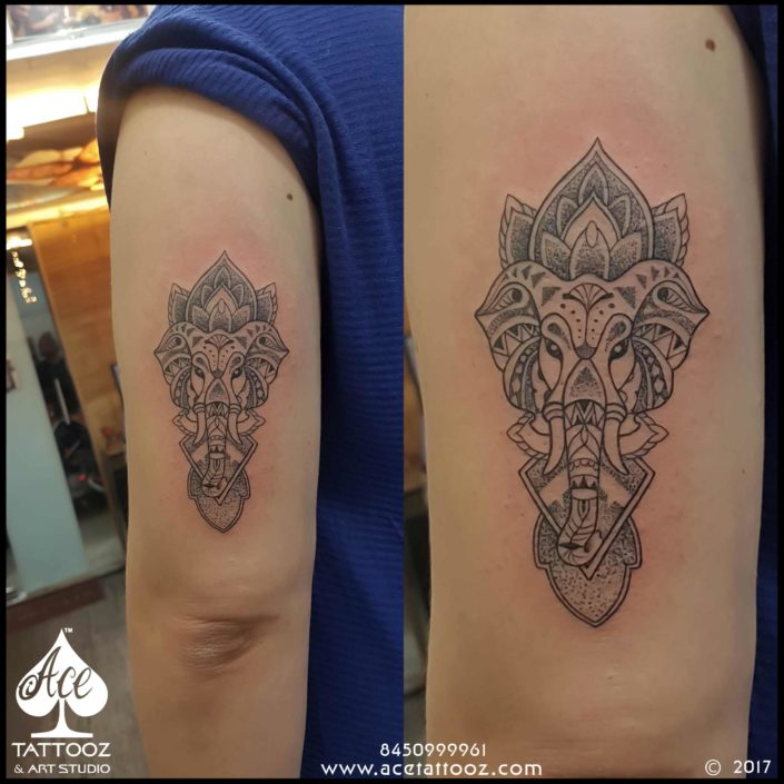 Dotwork Ganesha Tattoo on Hand