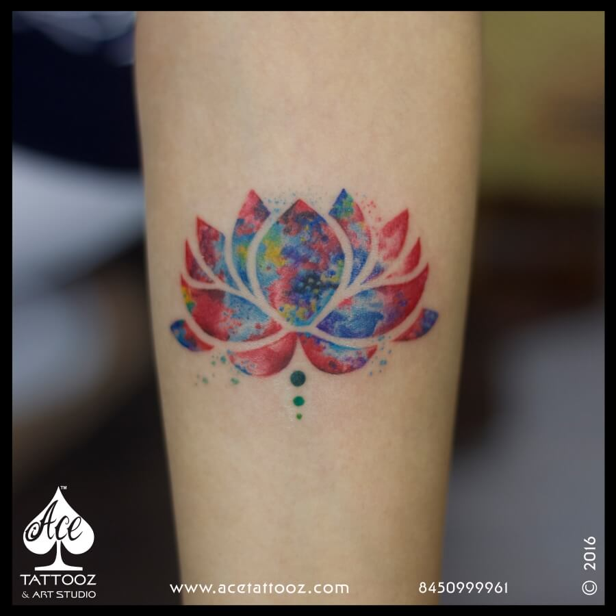 Multicolour Lotus Tattoo Ace Tattooz