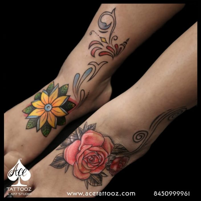 Rose Flower Leg Coverup Tattoo