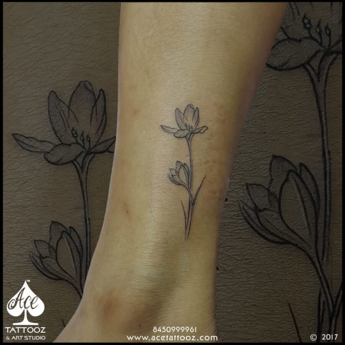 Small Ankle Unique Flower Tattoo Designs for Women