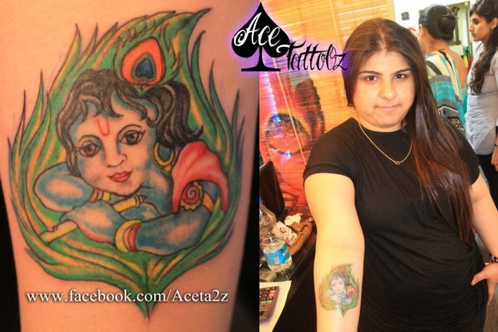 Lord Krishna Colourful Tattoo