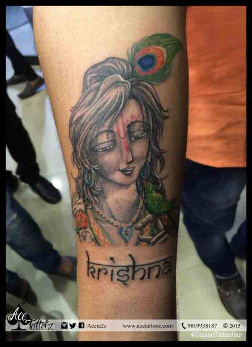 Lord Krishna Tattoo on forearm