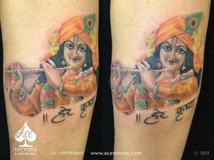 Playing Flute Lord Krishna Tattoo Designs