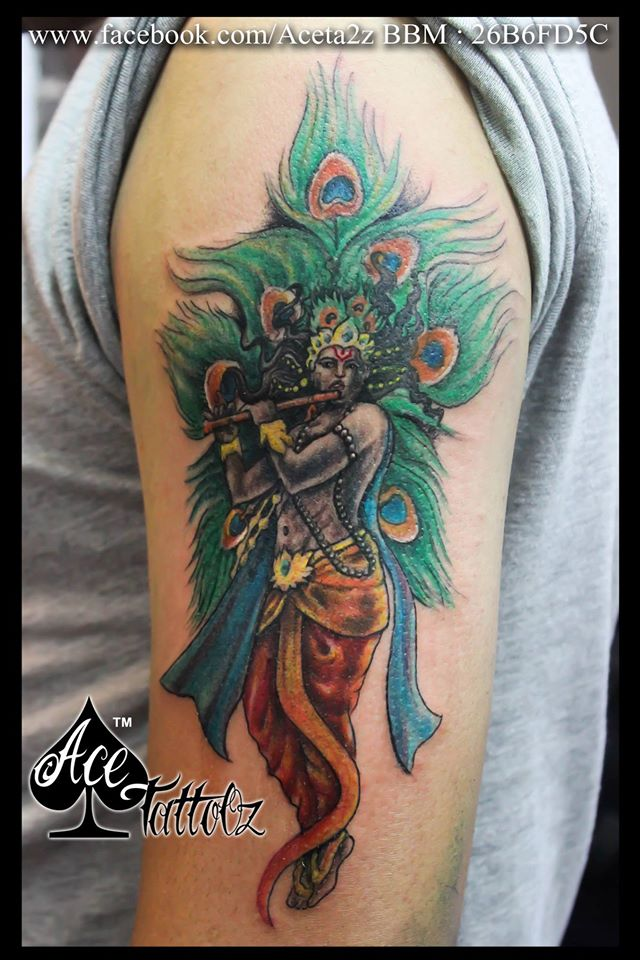 Standing Lord Krishna Tattoo playing the flute