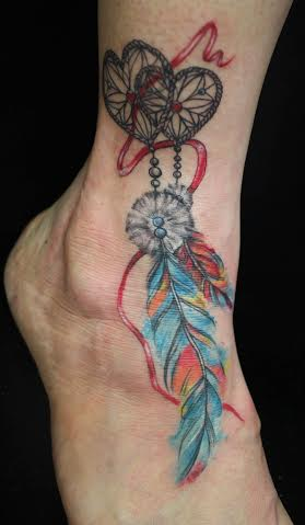 Feather Tattoo on foot design